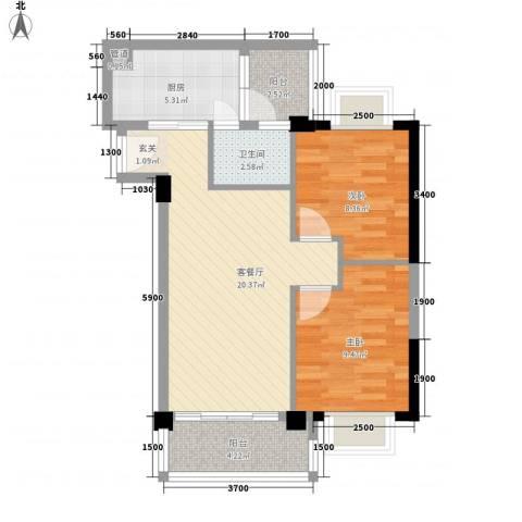 简爱社区2室1厅1卫1厨77.00㎡户型图