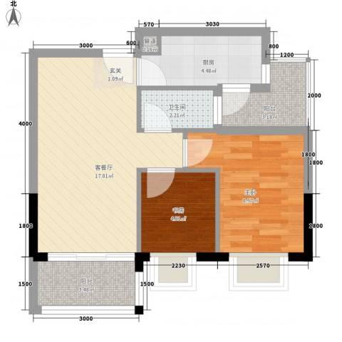 简爱社区2室1厅1卫1厨65.00㎡户型图