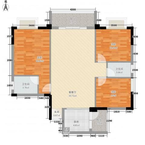 简爱社区3室1厅2卫1厨113.00㎡户型图