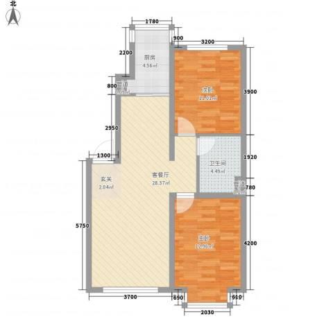 万达长白山国际度假区2室1厅1卫1厨82.00㎡户型图