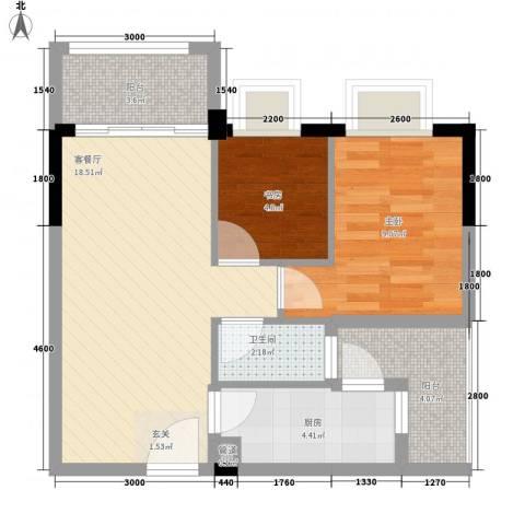 简爱社区2室1厅1卫1厨56.00㎡户型图