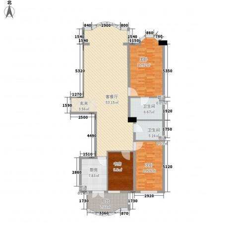 铂宫3室1厅2卫1厨121.23㎡户型图