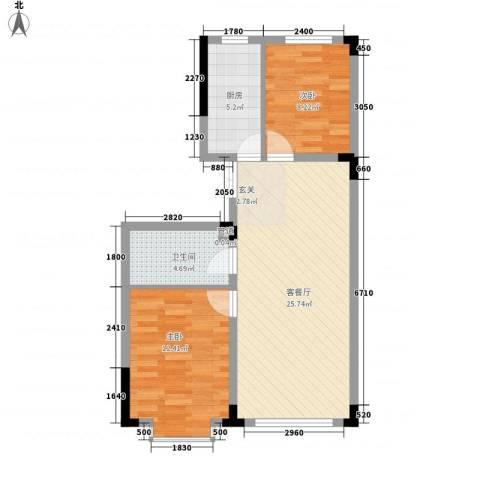 万达长白山国际度假区2室1厅1卫1厨56.29㎡户型图