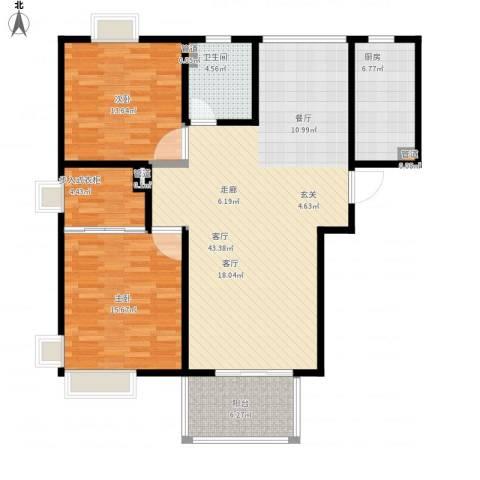 爵仕悦恒大国际公寓2室1厅1卫1厨132.00㎡户型图