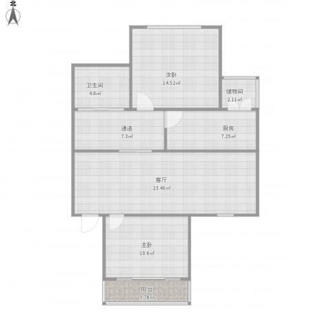 三塘桃园2室1厅1卫1厨100.00㎡户型图