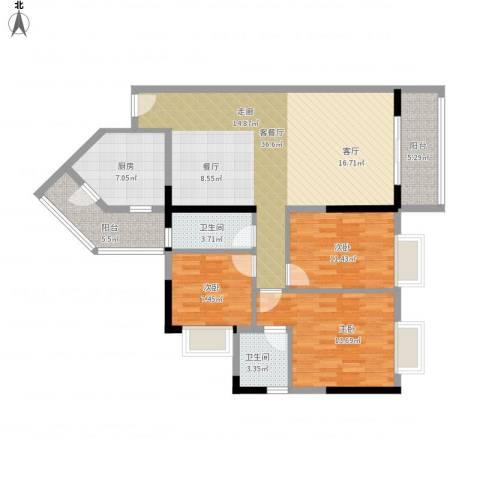 旭日雅苑・幸福里3室1厅2卫1厨133.00㎡户型图