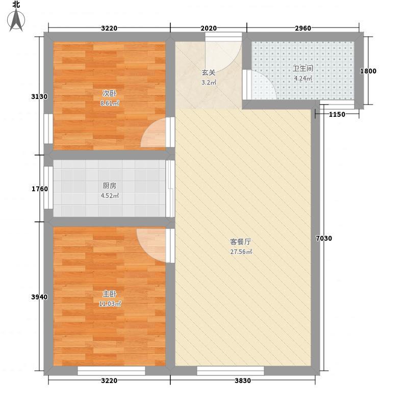 通达万象城82.00㎡两居室户型2室2厅1卫1厨