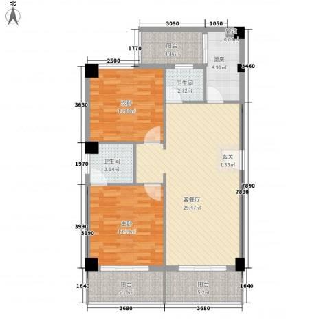 雪梨星光2室1厅2卫1厨112.00㎡户型图