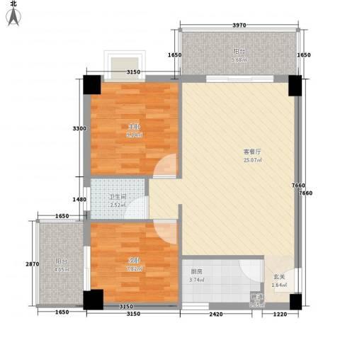 雪梨星光2室1厅1卫1厨83.00㎡户型图