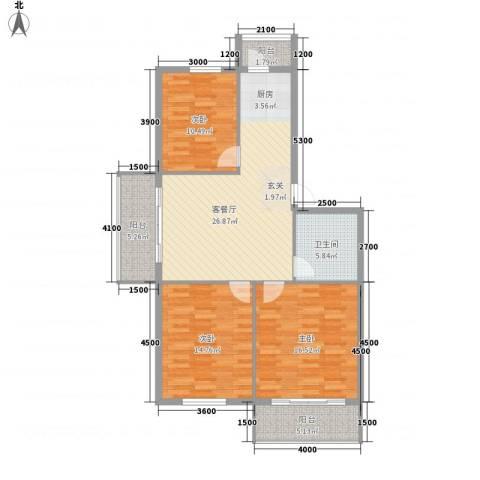 园丁花园二期3室1厅1卫0厨121.00㎡户型图