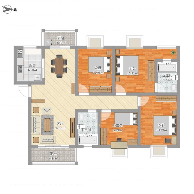 140平四房两厅V1