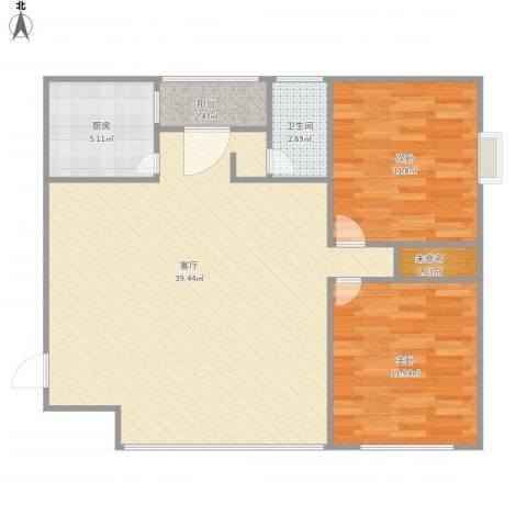 东方豪园2室1厅1卫1厨100.00㎡户型图