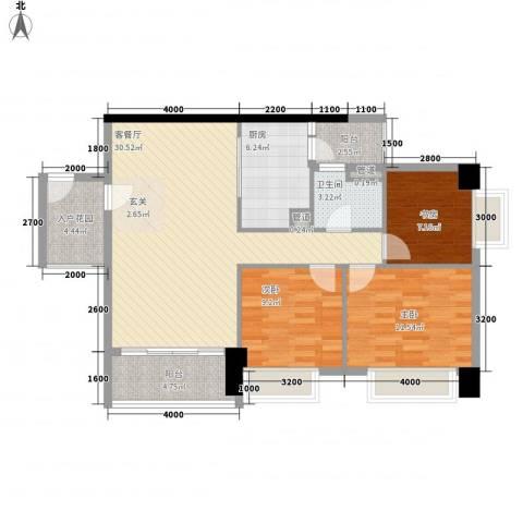 奥园海景城3室1厅1卫1厨80.04㎡户型图
