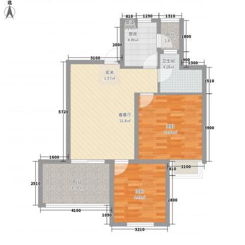 星尚国际公寓2室1厅1卫1厨85.00㎡户型图