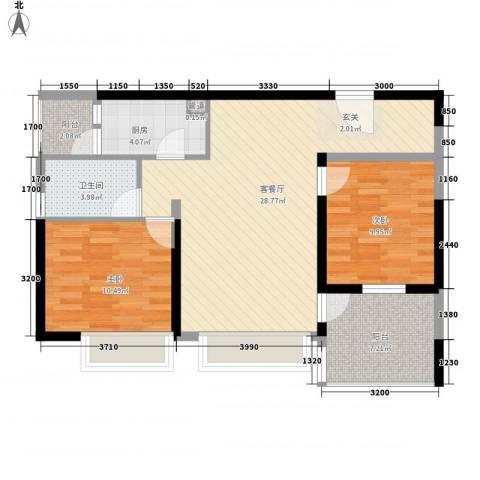 万科金域蓝湾2室1厅1卫1厨95.00㎡户型图