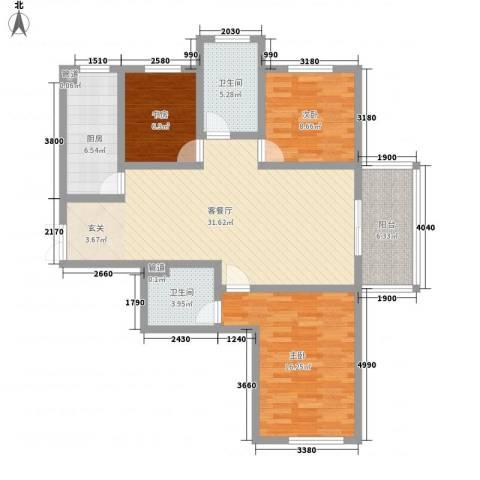 楚河花园3室1厅2卫1厨124.00㎡户型图
