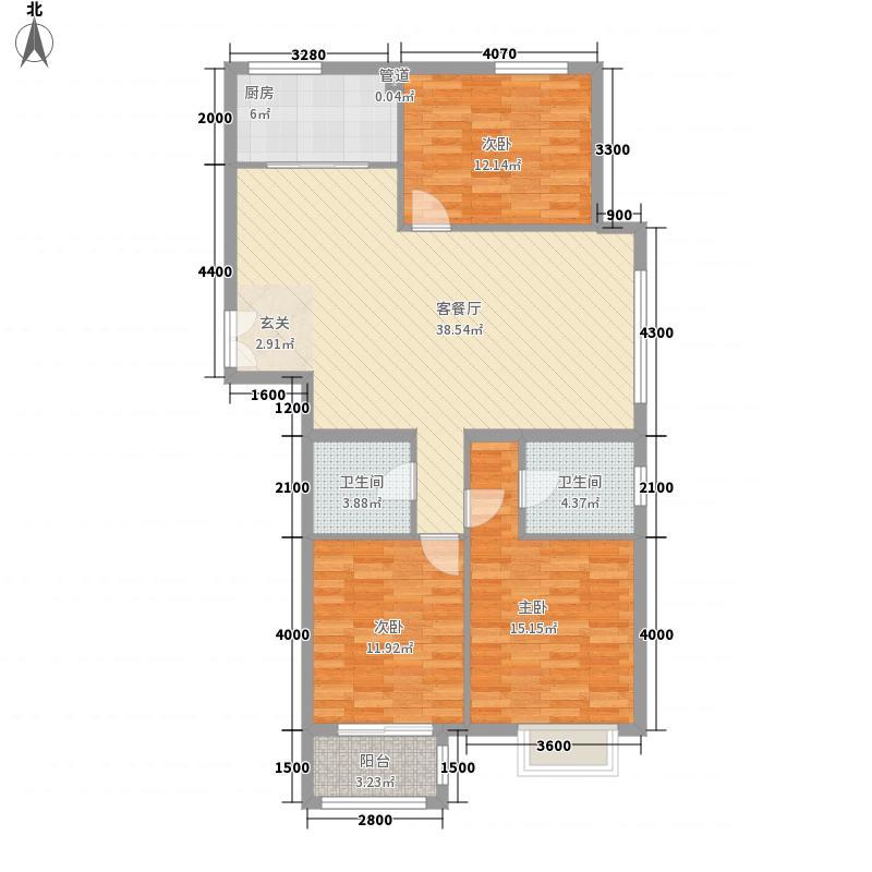银丰花园136.00㎡6、10号楼C6户型3室2厅2卫