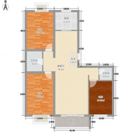 西中华小区3室1厅2卫1厨128.00㎡户型图