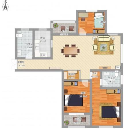 天山花园3室1厅2卫1厨130.00㎡户型图