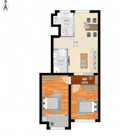 颐和家园3室1厅1卫1厨77.00㎡户型图