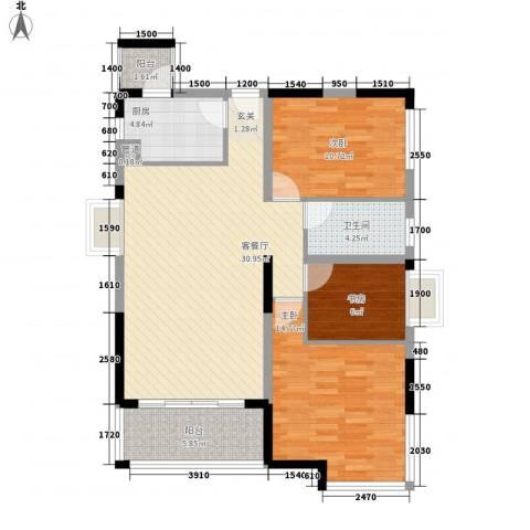 丽江花园3室1厅1卫1厨112.00㎡户型图