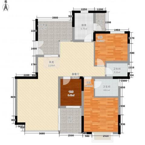 丽江花园3室1厅2卫1厨158.00㎡户型图
