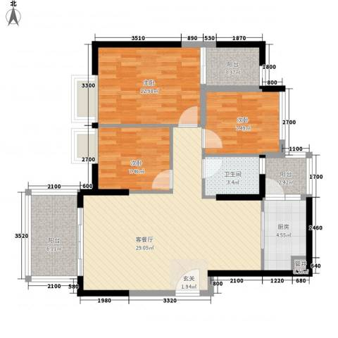 景湖时代城3室1厅1卫1厨98.00㎡户型图