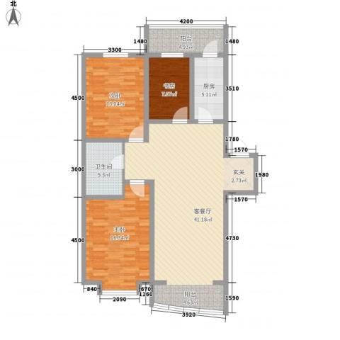 富山花园3室1厅1卫1厨106.00㎡户型图