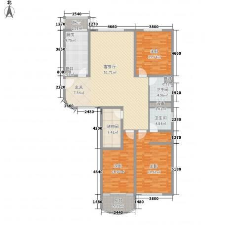 国际广场公寓3室1厅2卫1厨200.00㎡户型图