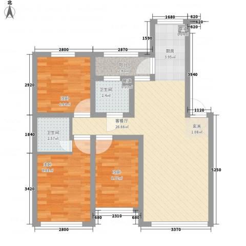 柏林四季3室1厅2卫0厨84.00㎡户型图