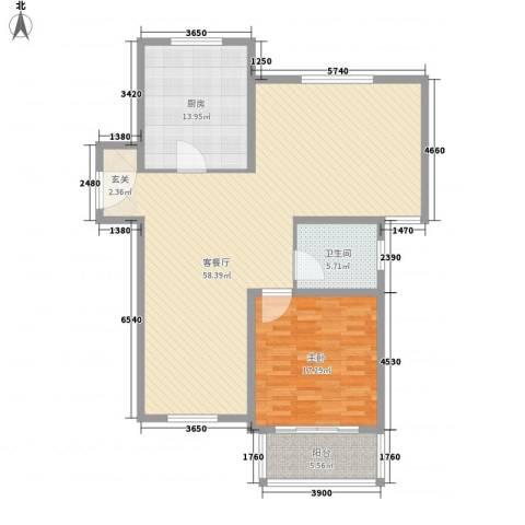 东兰兴城玉兰苑1室1厅1卫1厨142.00㎡户型图