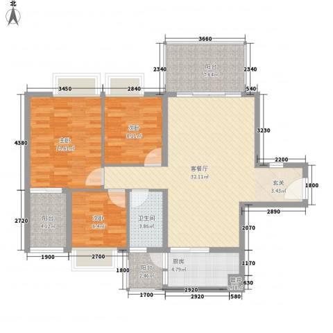 景湖时代城3室1厅1卫1厨104.00㎡户型图