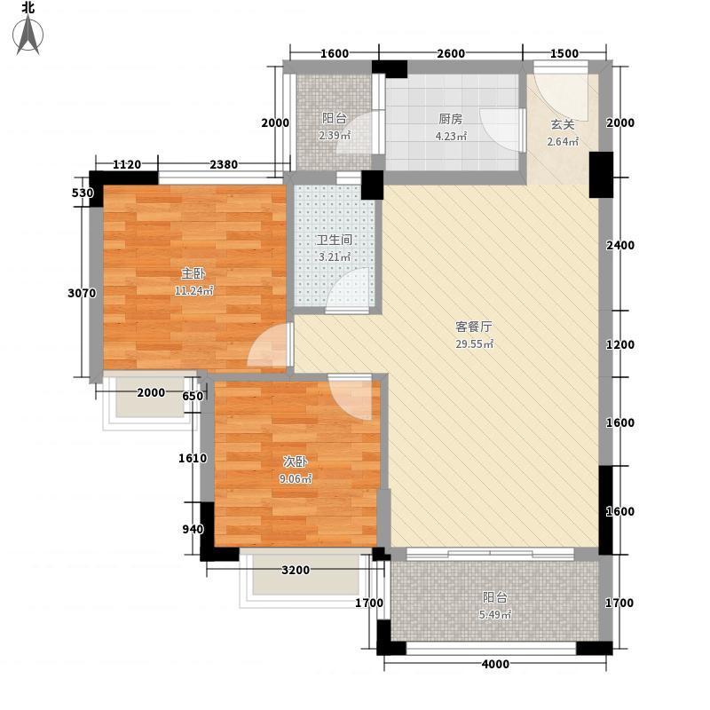 皇冠岭秀五期03号位户型2室2厅1卫1厨