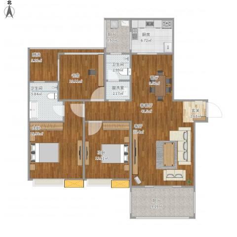 美好家园3室2厅2卫1厨158.00㎡户型图