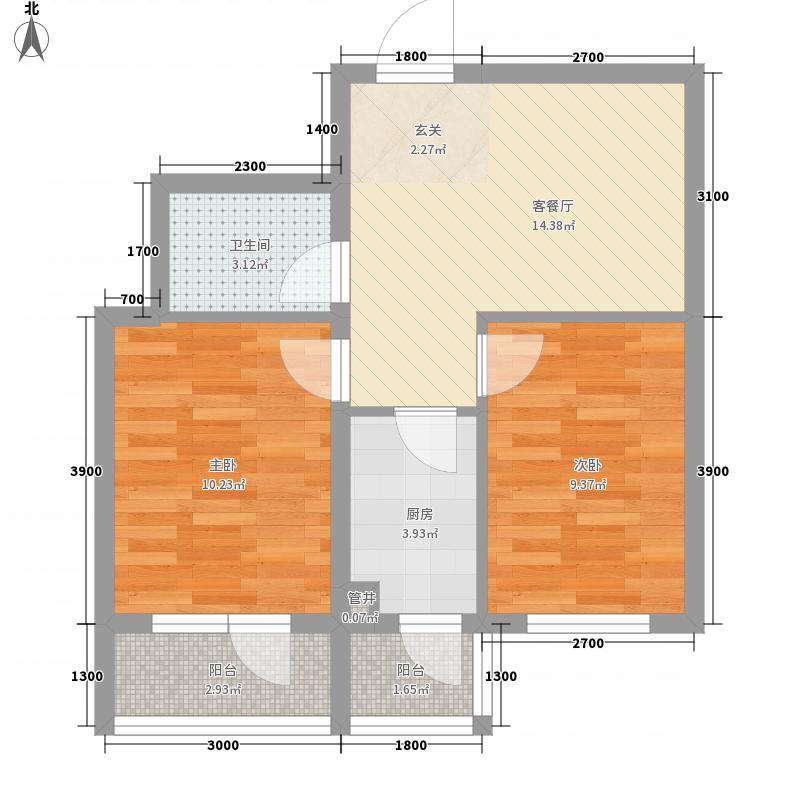 世代悦龙湾66.40㎡4#I户型2室1厅1卫1厨