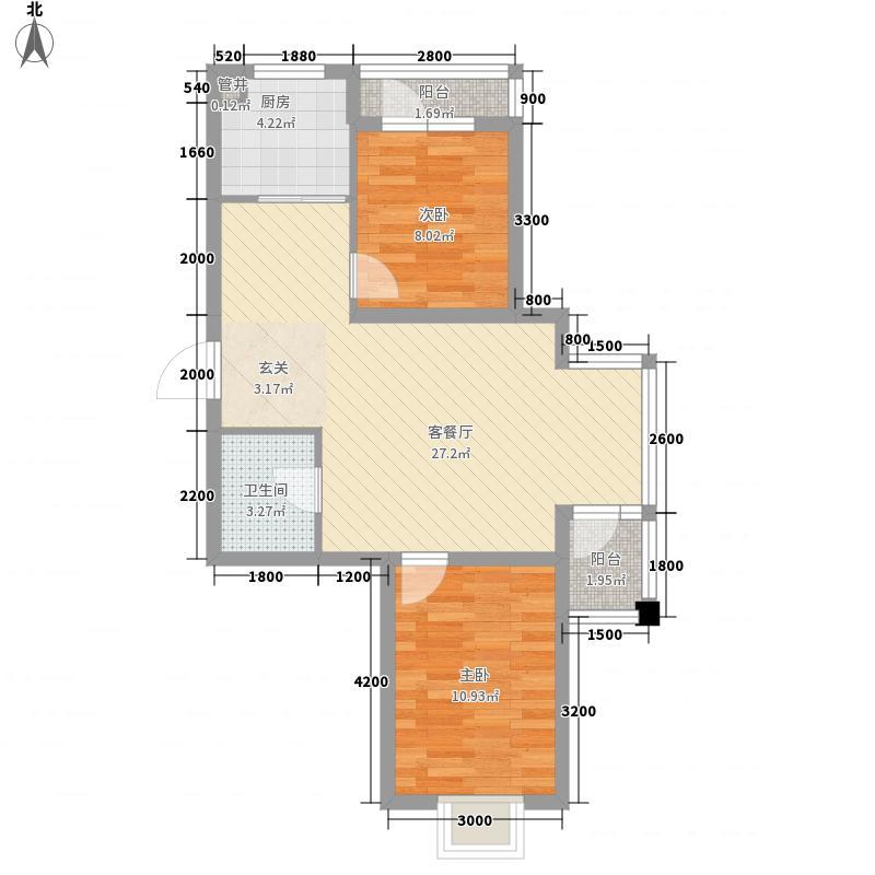 世代悦龙湾81.40㎡8#9#11#A户型2室2厅1卫1厨