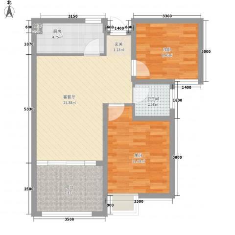 华林东盛花园二期2室1厅1卫1厨81.00㎡户型图