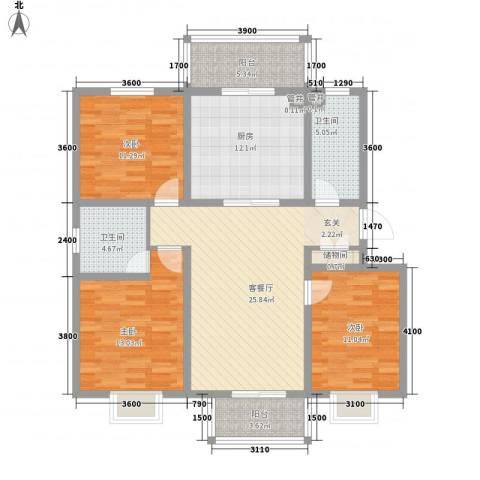 中宁花园3室1厅2卫1厨135.00㎡户型图