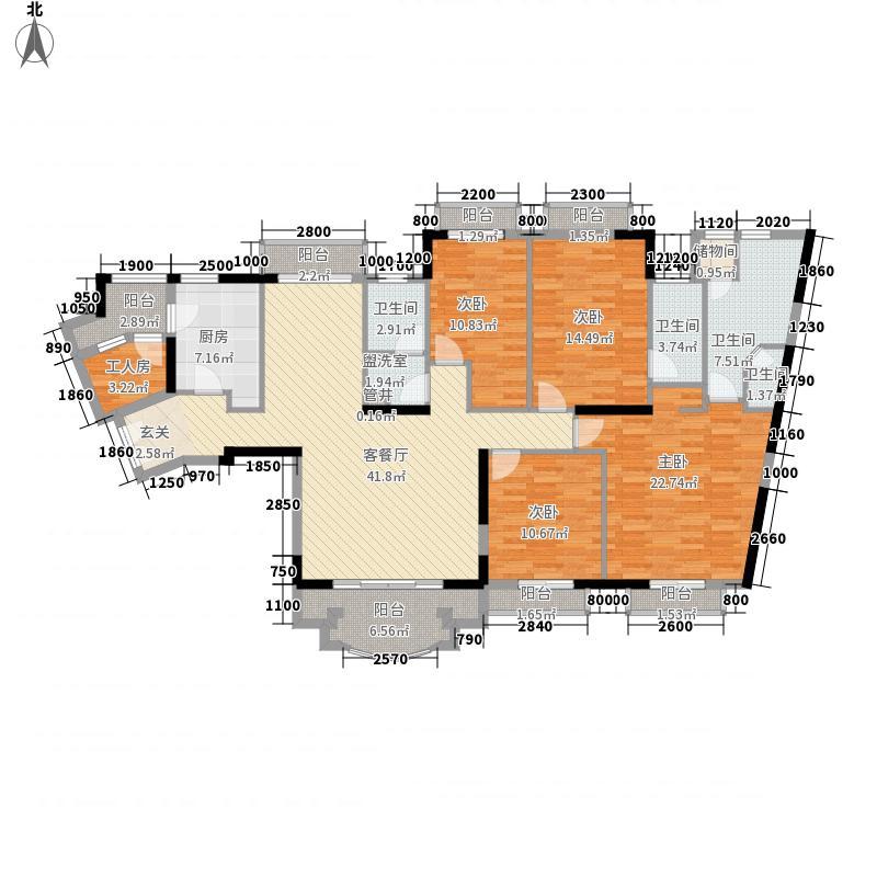 保利林语山庄户型图观山月01单位2-14层 4室2厅