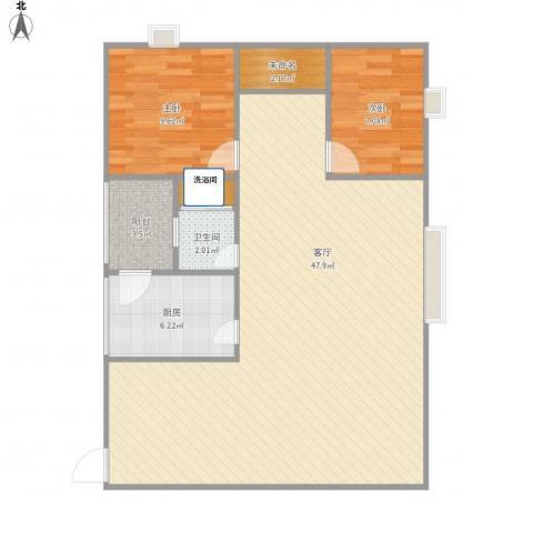 东方豪园2室1厅1卫1厨106.00㎡户型图