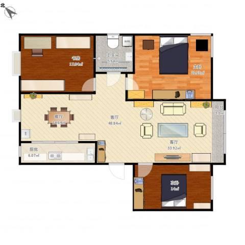 顺达海滨花园3室1厅1卫1厨128.00㎡户型图