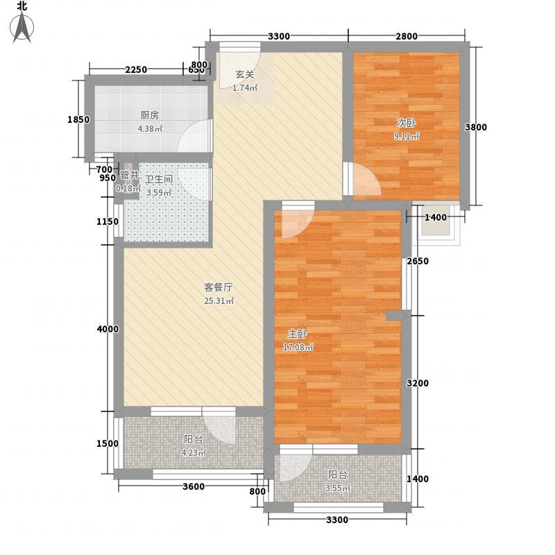 金地自在城88.00㎡K2地块3号楼3A-1户型2室2厅1卫1厨