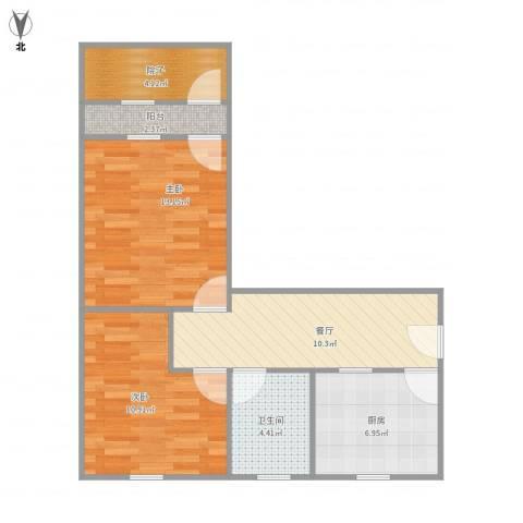 工人新村2室1厅1卫1厨71.00㎡户型图