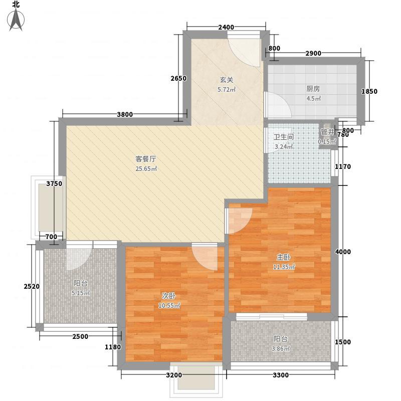 金地自在城85.00㎡K2地块5号楼3F-1户型2室2厅1卫1厨