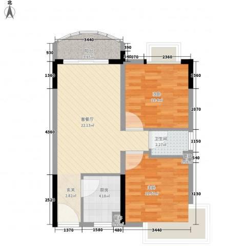 香港街2室1厅1卫1厨76.00㎡户型图
