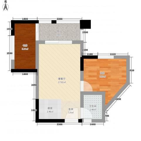 和润家园2室1厅1卫0厨36.50㎡户型图