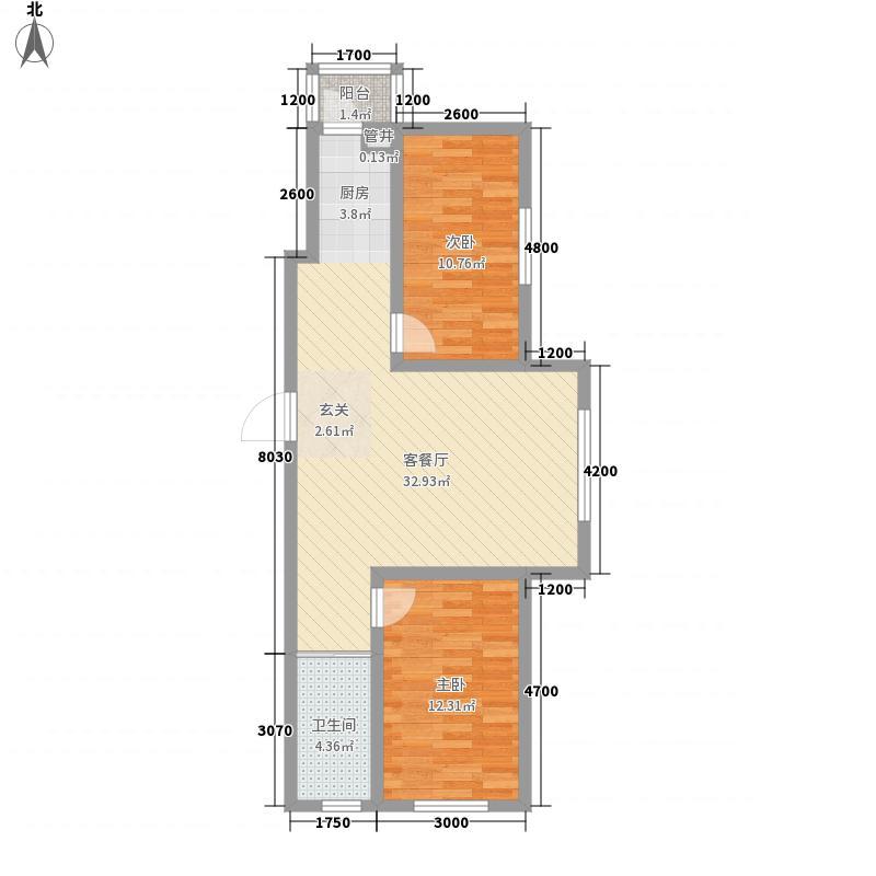 天一朝阳地矿花园3.00㎡F户型2室2厅1卫1厨