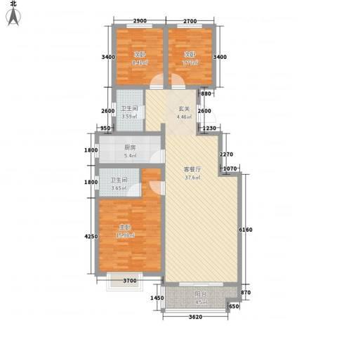 华银城3室1厅2卫1厨125.00㎡户型图