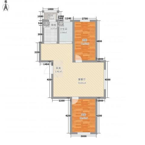 天一朝阳地矿花园2室1厅1卫1厨62.61㎡户型图