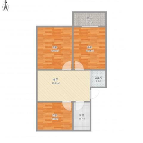 牡丹公寓3室1厅1卫1厨72.00㎡户型图